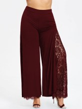 Summer Plus Size Casual Women Patchwork Lace Wide Leg Pants Loose High Slit Lace Palazzo Pants Solid Straight Long Trousers 5XL s 5xl vintage long pant women 2019 celmia female high waist wide leg pants trouser casual loose pantalon plus size solid palazzo