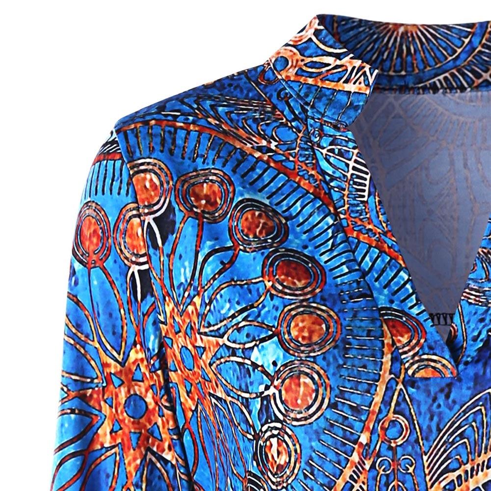 Tribal Estilo Tops Colormix Plus V Retro Tamaño Blusa Étnico Étnicas Y Vestido Manga Larga Alta Baja Cuello Impresión Mujer La Kenancy xEzqRwax