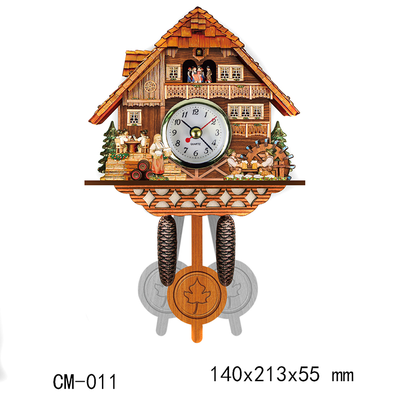 1Pc Antique Wall Clock Vintage Bird Bell Timer Woodboard Clocks Swing Alarm Clock Wall Watch Farmhouse Home Decor