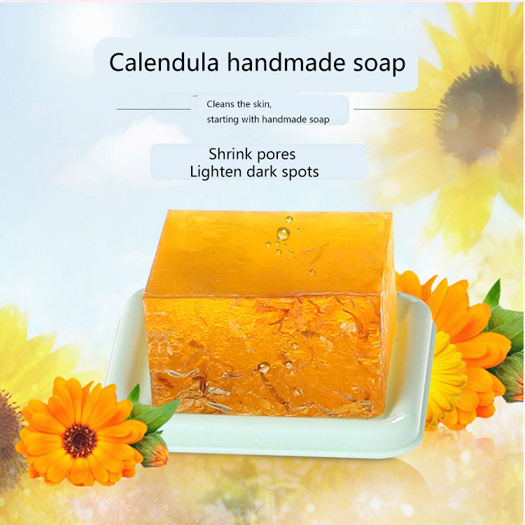 Купить с кэшбэком Calendula handmade soap 100g  skin lightening soap  natural soap  soap making  flower soap  oil and acne skin essence