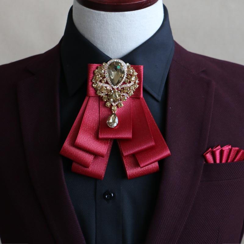 New High-grade Diamond Bow Tie Collar Groom Groomsman England Korean Bow Tie