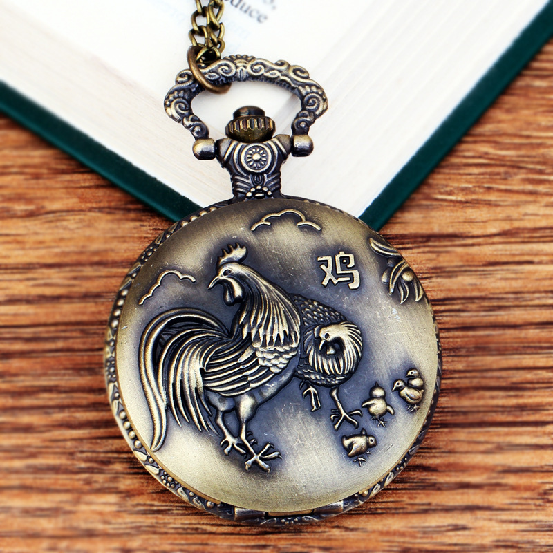 Pocket & Fob Watches Chinese Zodiac Animal Chicken Rooster Quartz Pocket Watches Vintage Fob Watches  Gift for Men/Women