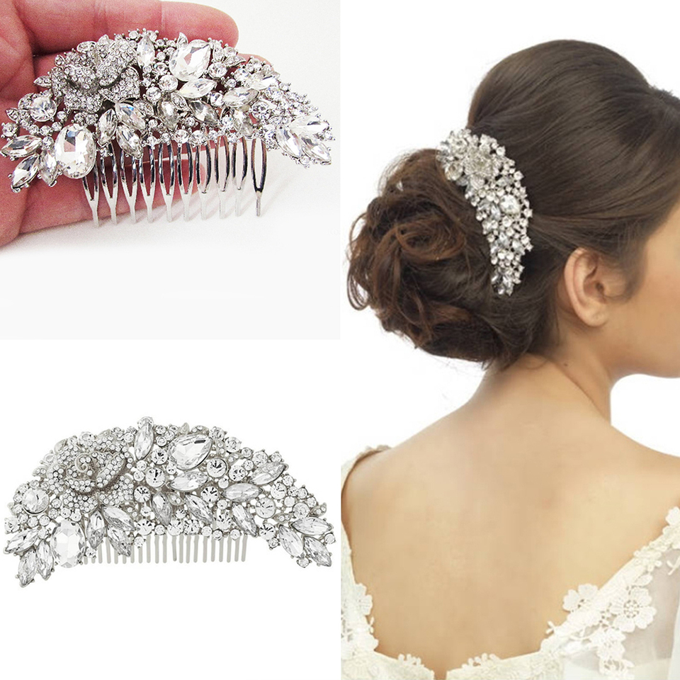Clear Rhinestone Crystals Wedding Bride Bridal Hair Accessories 2019 Floral Hair Comb Head Pieces Hair Pins Jewelry Accessories Hair Jewelry Aliexpress