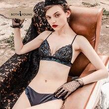 цена BOTHYOUNG Sexy Lady Bra Thin Sling Lace Embroidered Bra Female Bralette Underwear Set Lingerie Set