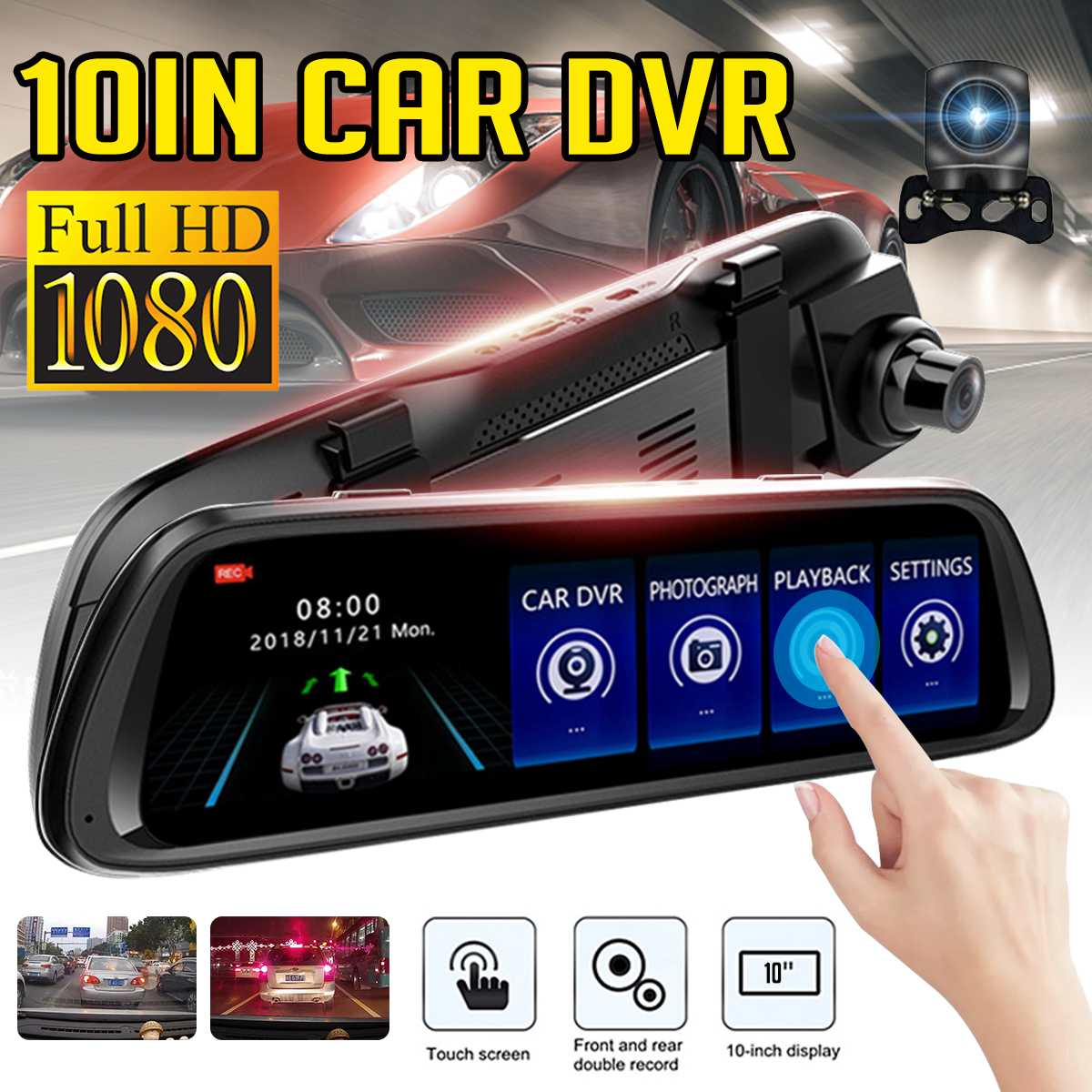 Car-Dvr-Camera Android-Stream Media Video-Recorder Dash-Cam Rear-View-Mirror Wifi Registrar