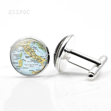 Europe Countries Map Cufflinks Italy France Scotland Poland Fashion Business Party Cuff Button Links Jewelry Gift For Men