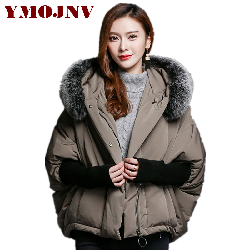 YMOJNV 2018 New Design Natural Fox fur Collar Bat Style   Down     Coat   Winter Jacket Women Fashion Thick Warm Snow Wear Winter Parka