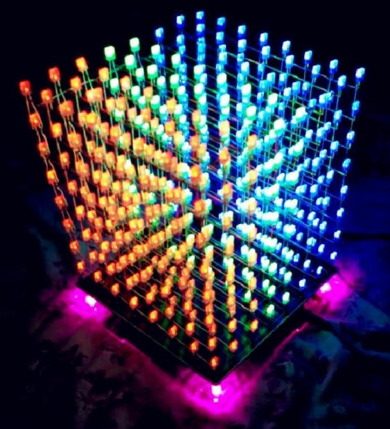 8S Music LED Night Light Luminaria Set 8x8x8 Music Spectrum LED Lamp Electronic DIY Kits Lot LED Electronic DIY Kits Hot Sale