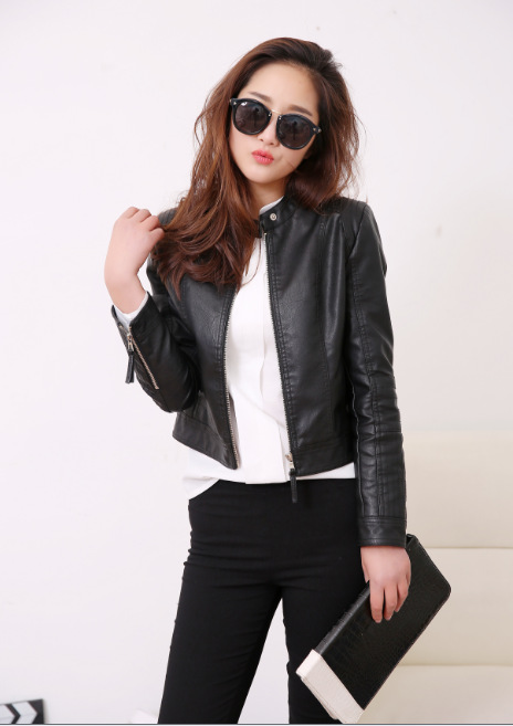 Women Spring Pu   Leather   Jacket Casual Slim Soft Moto Jacket O-Neck Biker Faux   Leather   Coat Basic Streetwear
