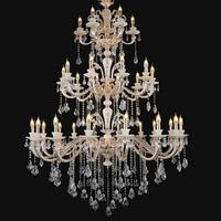 hotel chandelier led fixture lighting Antique 32 pcs large church crystal lustre lamp for stadium project Lustres E Pendentes