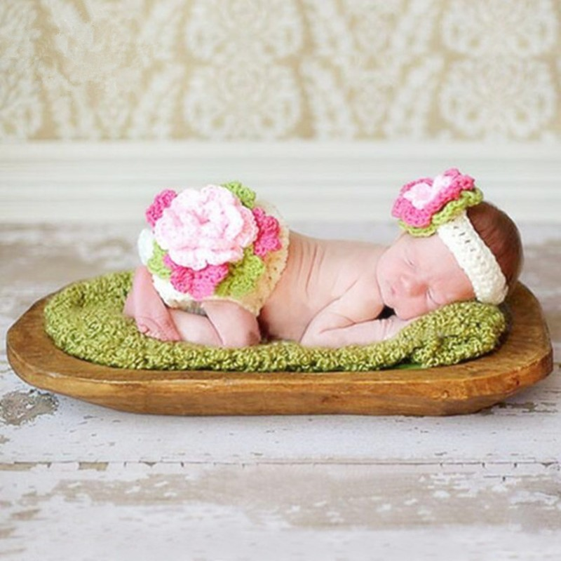 Newborn Photography Props Baby Girl Flower Costume Photography Babies Accessories Baby Photo Props Crochet Headwear+Pants Set