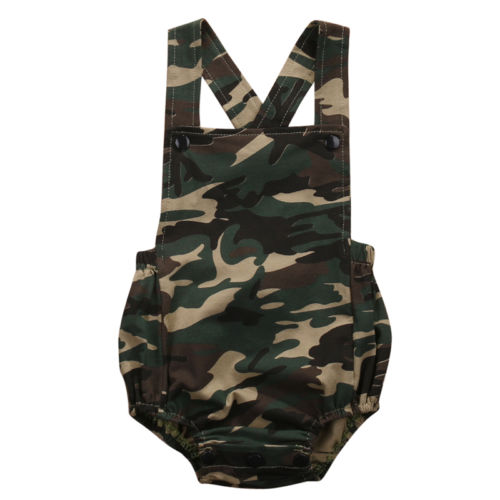 Casual Sleeveless Cotton Camouflage <font><b>Newborn</b></font> <font><b>Baby</b></font> Boy <font><b>Girl</b></font> Romper Jumpsuit <font><b>Summer</b></font> <font><b>Clothes</b></font> Outfits Sunsuit army green outdoors image