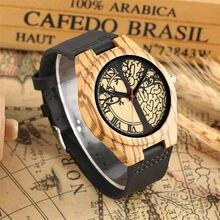 225266165c16 De Madera reloj para hombre de cuarzo negro de cuero genuino reloj superior  de la marca de lujo de árbol de la vida diseño de la.