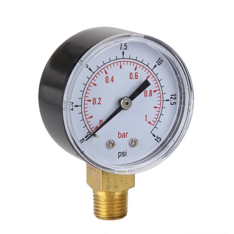 New TS-50-15psi 0/15 PSI 0/1 Bar Pressure Gauge Fuel Air Compressor Low Pressure Gauge Bar Meter Hydraulic Tester Dial Manometer