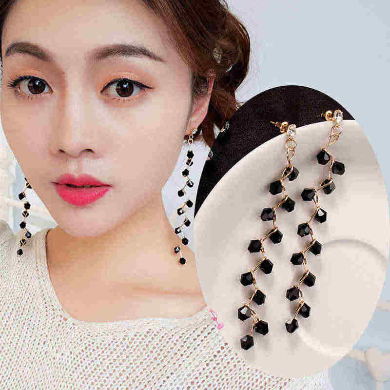 2019 Fashion Crystal Tree Dendrite Long Tassel Earrings for Women Retro Black Beaded Pendant Earrings Korean Fairy Jewelry Party