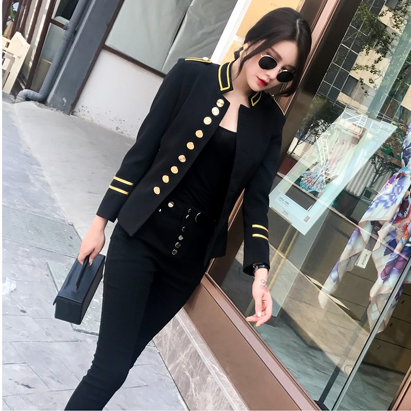 Military Jacket Women Black Long Sleeve Button Jacket Decorated Vintage Gothic Coat Corset Outerwear