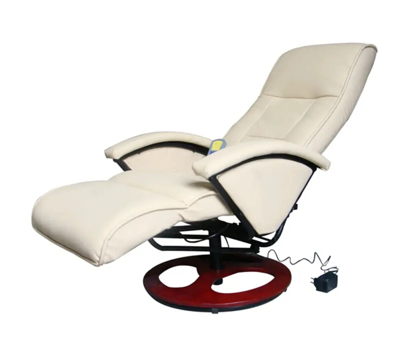 VidaXL fauteuil de massage électrique chaises de bureau meubles commerciaux fauteuil inclinable en cuir chaise pivotante avec repose-pieds