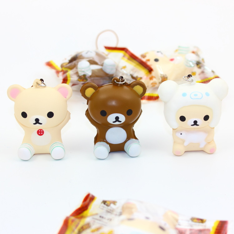 Advertising Special Section Wholesale 60pcs/lot 6cm Original Pack Soft Scented Kawaii Rilakkuma Squishy Queeze Toy Cell Phone Pendant Squishies Bread Bear Collectibles