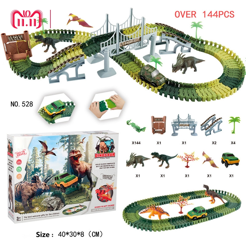 Dinosaur Race Car Track Set with 144 Pieces Flexible Tracks Set 2 Dinosaurs DIY Tracks with Electronic Racing Car Birthday Gift