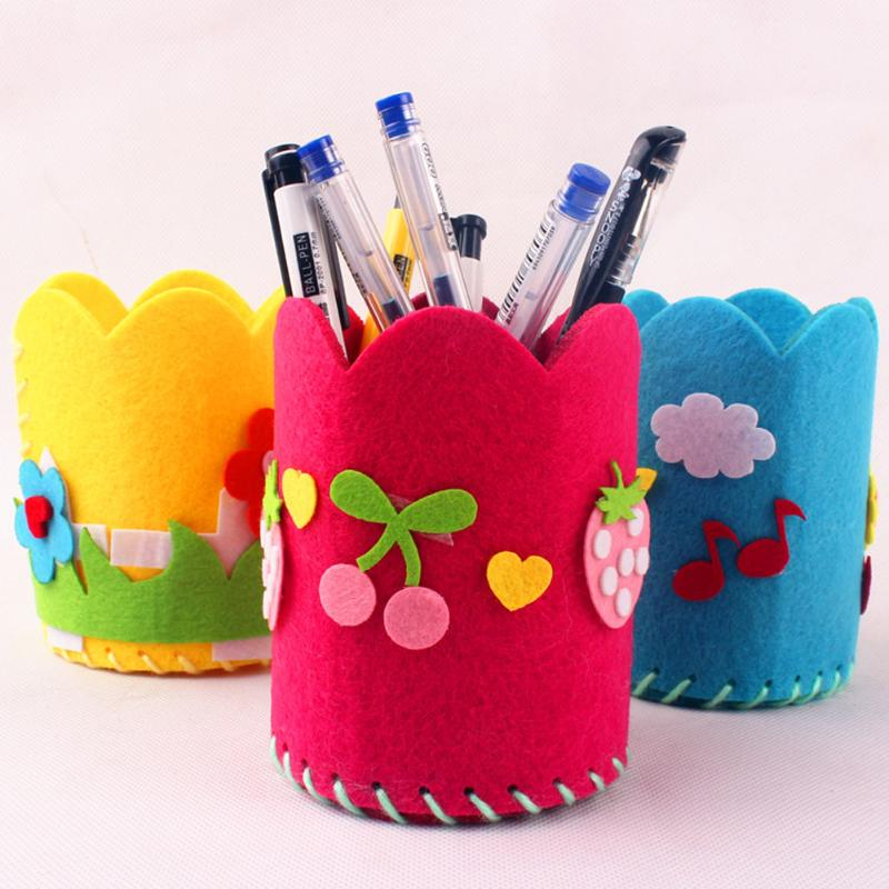 Kids DIY Craft Pencil Holder Educational Toys For Children Creative Handwork Pen Container Arts Crafts Toys Gifts Random Styles