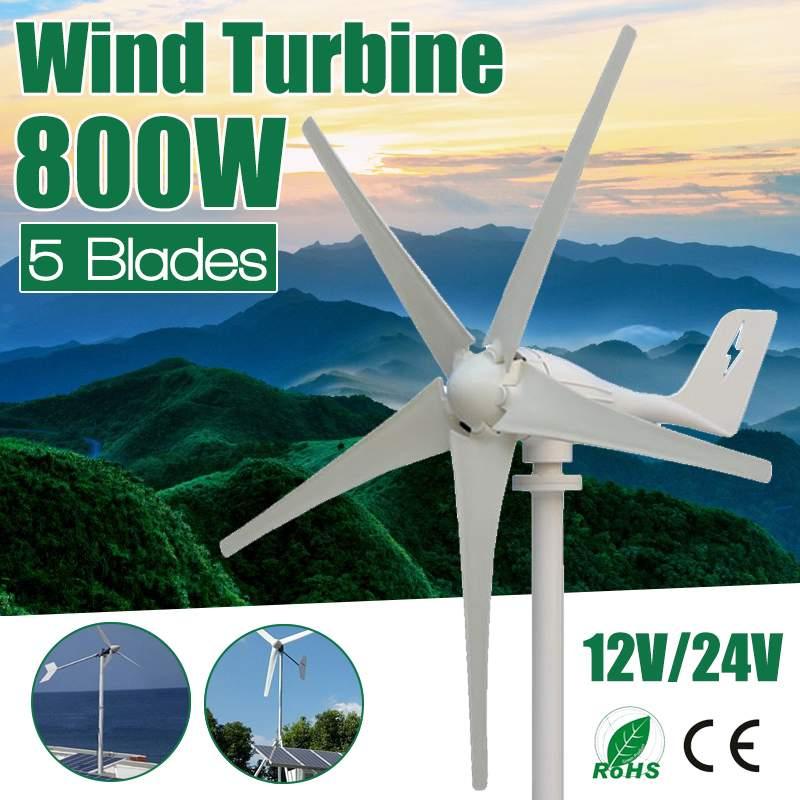 Efficace 600 W 12 V 24 Volts 5 Nylon fibre Lames Éoliennes Horizontales Puissance Du Générateur Moulin À Vent D'énergie kit de chargeur Ménage