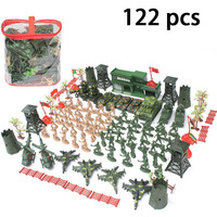 122 Pcs War Scene Military Soldier Figure Toy Action Figures Army Fighter Tank Sandbox Models Educational Toys For Children
