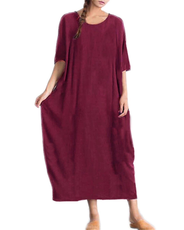 2019 Summer Dress Women ZANZEA Casual Loose Solid Round Neck Half Sleeve Cotton Party Bodycon Pockets Long Maxi Dress Plus Size