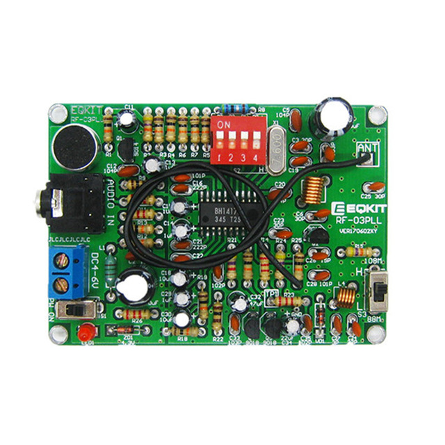 LEORY 1pc Two Channel MP3 Wireless Microphone Transmitter Module FM Radio Stereo  Transmitter Module PCB Board KIT Parts DIY