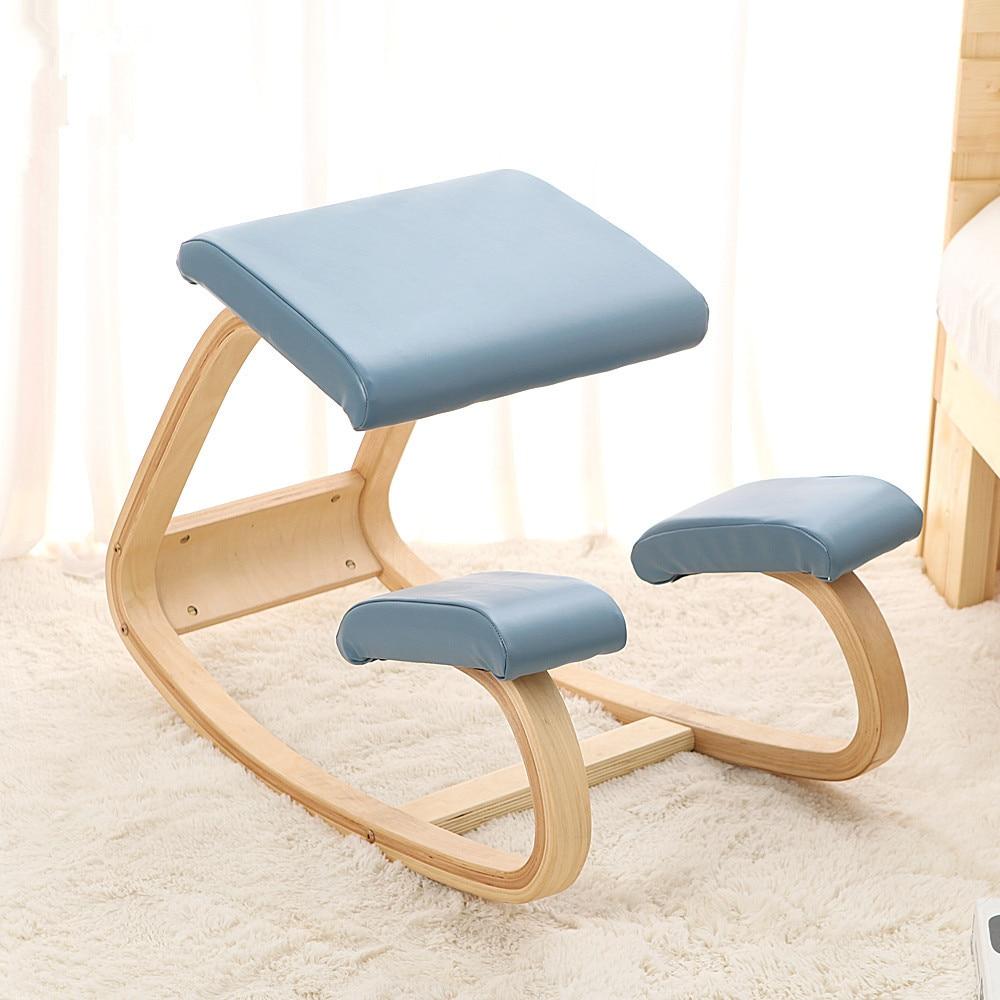 Original Ergonomic Kneeling Chair Stool Leather Seat Home Office Furniture Rocking Wooden Kneeling Computer Posture Chair Design