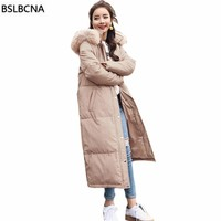 Down Cotton Padded Coat Female Casual Embroidery Long Winter Jacket Women Big Hair Collar 2018 Thicker Parka Bread Clothes A563
