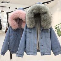Winter Women Jean Jacket Coat Faux Fur Collar Fleece Hooded Jacket Lamb Fur Cashmere Cowgirls Padded Denim Coat Xnxee