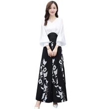 Korean Women Elegant Two Piece Sets White Chiffon Blouse And Floral Print Skirt Pants Trousers  Sexy Suits teen girls clothing sets kids blouse pants two piece suits chiffon white tops black trousers loose summer suits for 6 14y
