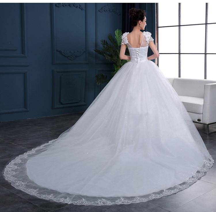 Свадебное платье трапециевидной формы с v-образным вырезом и кружевом сзади, с коротким рукавом, пышные кружевные свадебные платья с длинны...