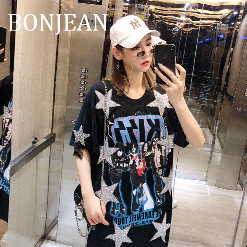 BONJEAN Lettres Imprimer Shirt pour les Femmes 2019 D'été hauts et T-shirts Étoiles Motif Chemise avec Sequin À Manches Courtes Noir T chemise BJ1219