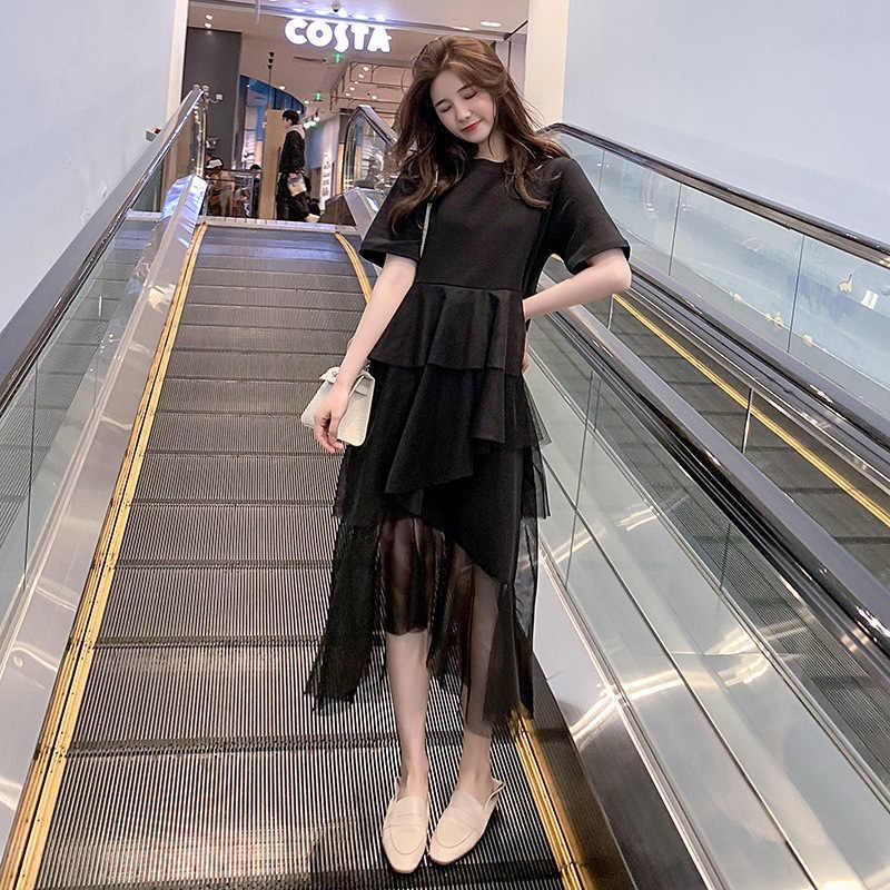 LANMREM/Новинка 2019 года; модное ассиметричное летнее платье с короткими рукавами и сеткой; женская одежда в Корейском стиле; модная одежда; Vestido YG798