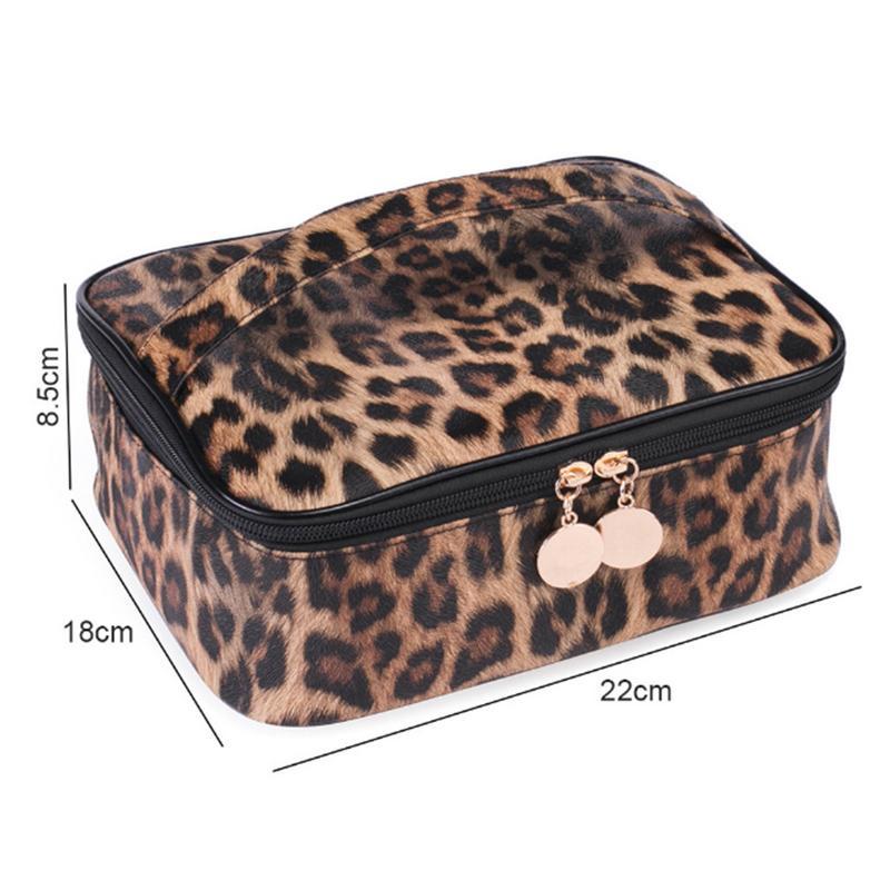 Leopard Print Pu Cosmetic Bag Multi