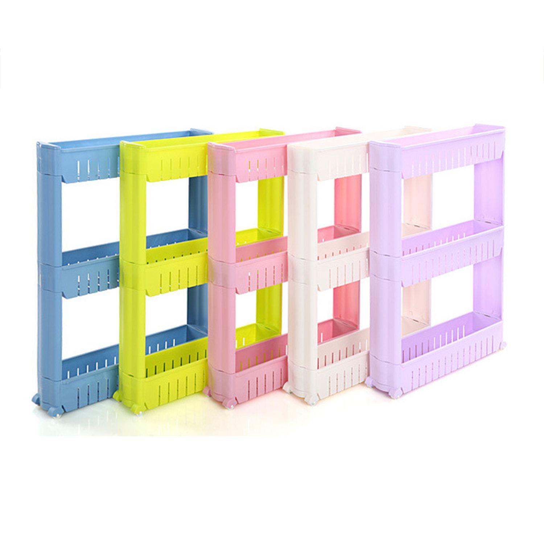 High Quality Gap Storage Shelf For Kitchen Storage Skating Movable Plastic Bathroom Shelf Save Space Three-Layers