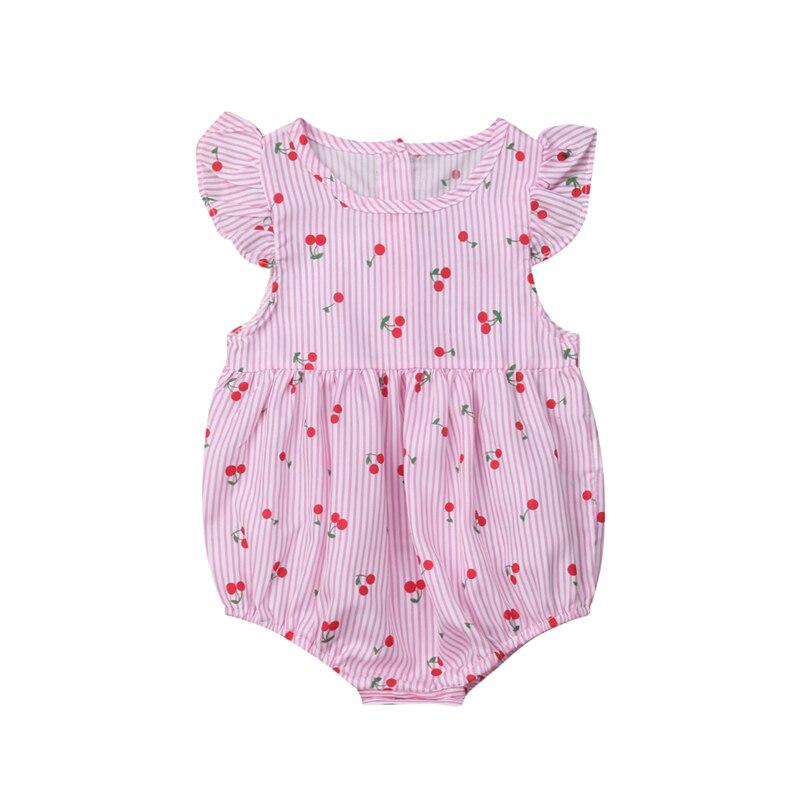 Fashion Newborn Baby Bodysuits Striped Flower Print Sleeveless Baby Jumpsuit Infant Bodysuit Toddler Girl Clothing Sunsuit 0-18M