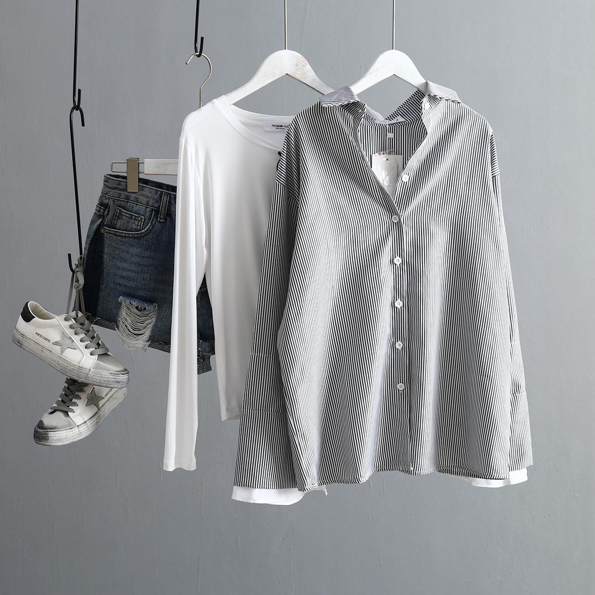 Korean Fashion Black Striped Shirt Women Double Flare Sleeve Vintage Shirt Spring Autumn Ladies Oversized Blouse Chemise Femme