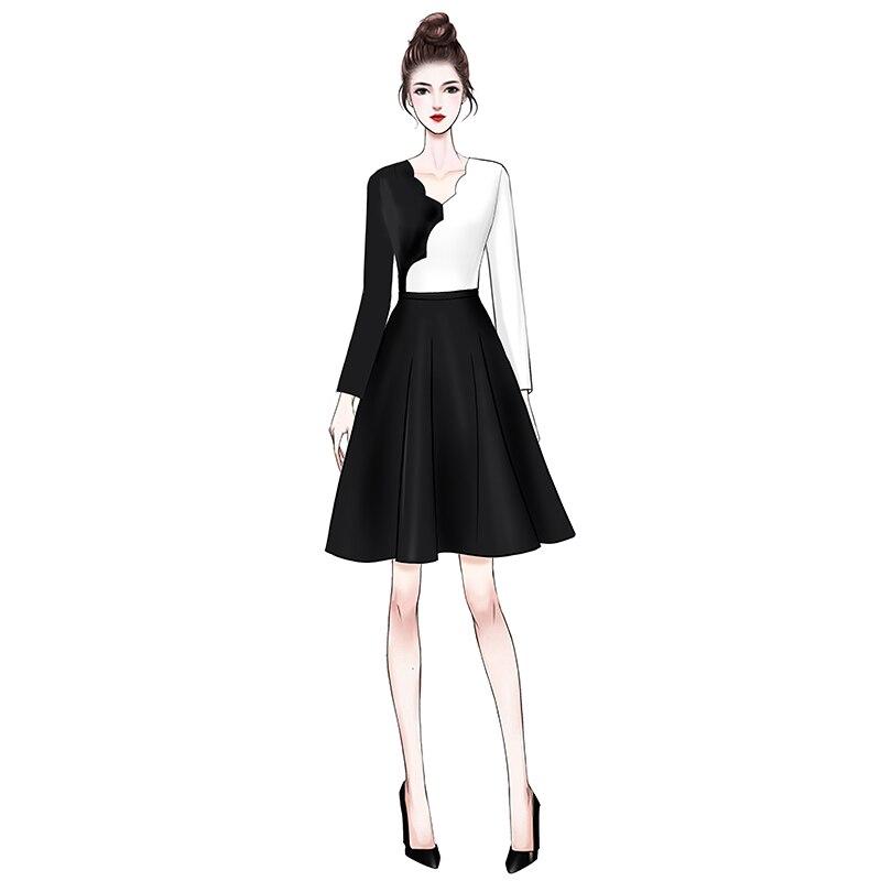 Printemps Deat neck Mode 2019 We05801 White Contraste Pour Bas Taille Manches Robes Stitching And Couleurs Pleine Nouveau ligne Haute Vêtement V Femme De A rrEnx