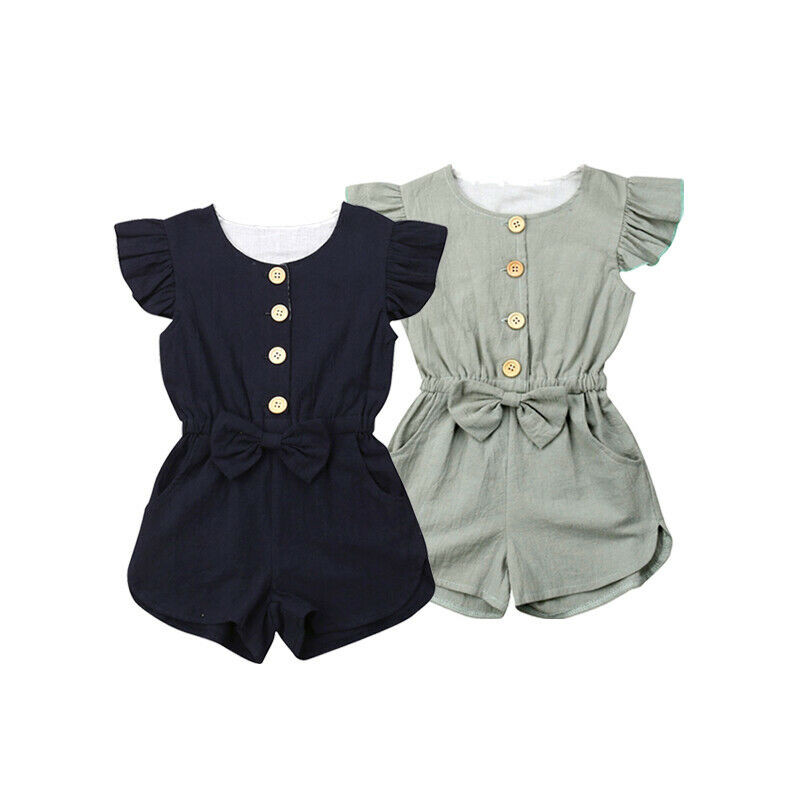 Kids Baby Girls Clothes Summer   Romper   Solid Single Breasted Bow Jumpsuit Outfits Toddler Clothes Sunsuit One Pieces