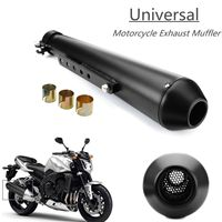 Motorcycle Cafe Racer Exhaust Pipe Muffler Exhaust Tip with Sliding Bracket Matte Black Silver Universal