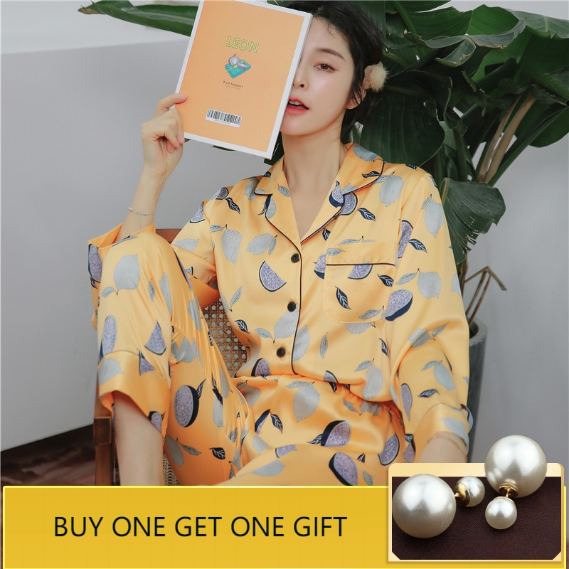 QWEEK 2019 Spring Women Pyjama Print Pijamas Women Satin Sleepwear Casual Women   Pajamas     Sets   Loose Silk Home Clothes Fashion