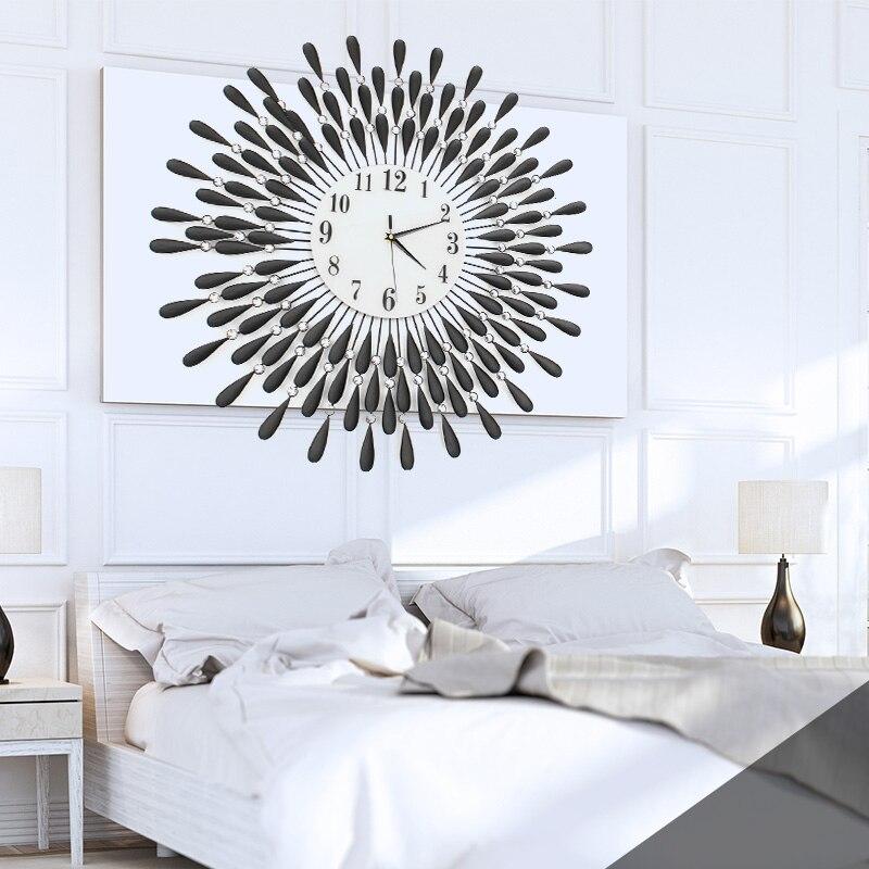 70 cm Vintage Cristal Sunburst Horloge Murale De Luxe Diamant Grand Morden Horloge Murale 3D Horloge Murale Décor À La Maison