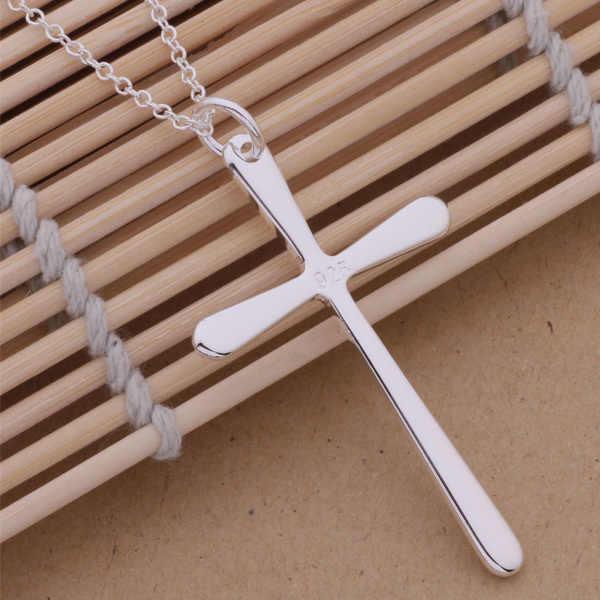 An253 Hot 925 srebro naszyjnik ze srebra próby 925 modny wisiorek zakontraktowane krzyż/glrapcya Aqdajhka