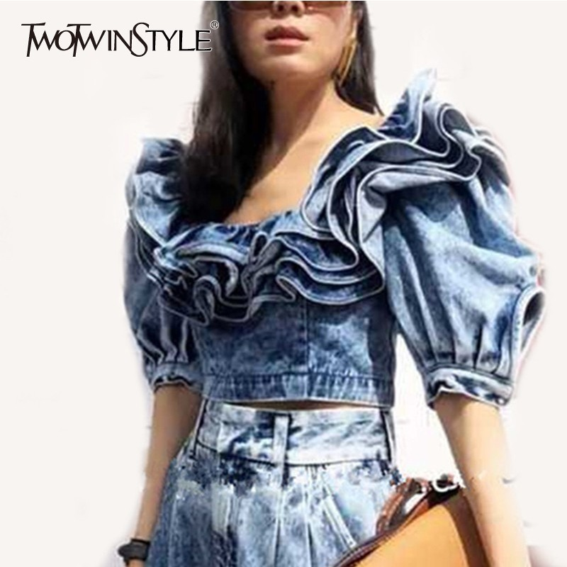 TWOTWINSTLE Ruffle Denim Crop Tops Female Puff Sleeve Square Collar Sexy Shirt Blouse Women Summer 2020 Fashion New