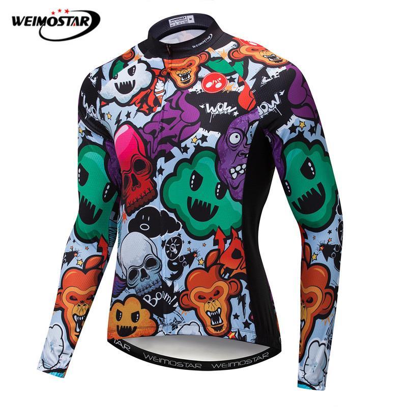 d7348207fed Weimostar 3D Pringting Ghost Велоспорт трикотаж с длинным рукавом для мужчин  осень горный велосипед одежда Весна