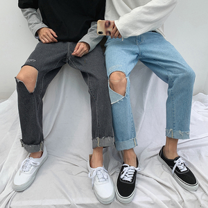 Image 2 - 2019 Korean Style Mens Fashion Trend Baggy Homme Blue Color Jeans Loose Trousers Holes Printing Jeans Casual Pants Size S 2XL