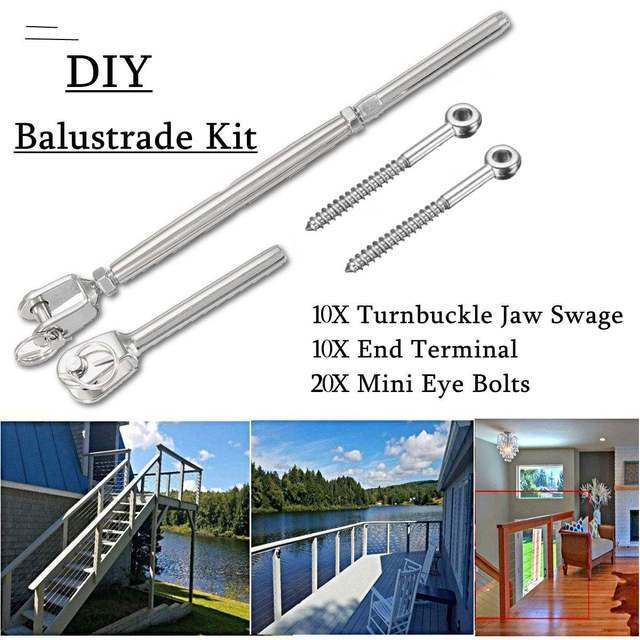 10 Sets Silver Stainless Steel Wire Rope DIY Balustrade Accessories Turnbuckle Tie Down Mobile Home Html on