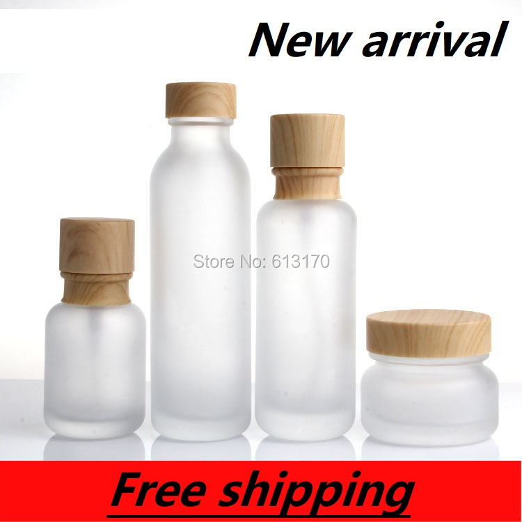 150ml,110ml.,50ml,Frosted Glass Lotion Pump Bottle,Wood Grain Lid,50g Empty Cream Jar,Empty Cosmetic Packing Container